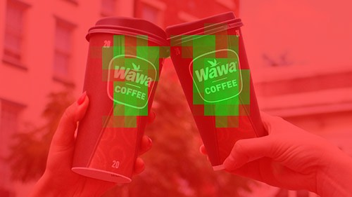 Example of AI recognizing two wawa logos on coffee cups