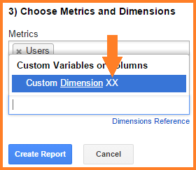 Menu for adding custom dimensions to a Google Sheets GA Add-On report