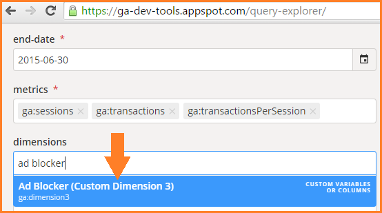 GA Query Explorer and the selection of custom dimensions
