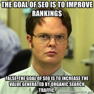 The goal od SEO is to improve rankings. False. The goal of SEO is to increase the value generated by organic search traffic.