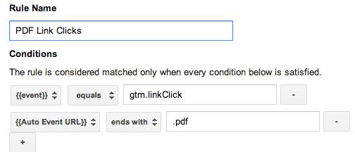Tag Manger PDF click rule