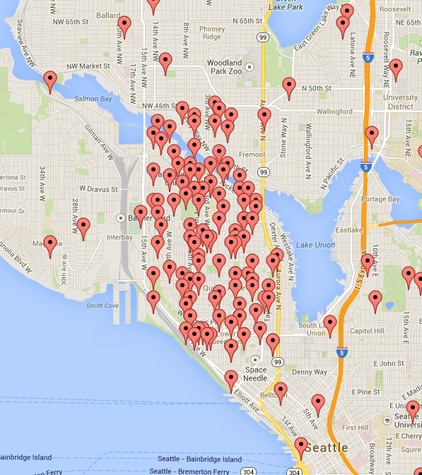 Map of Seattle's Queen Anne neighborhood with locations mapped