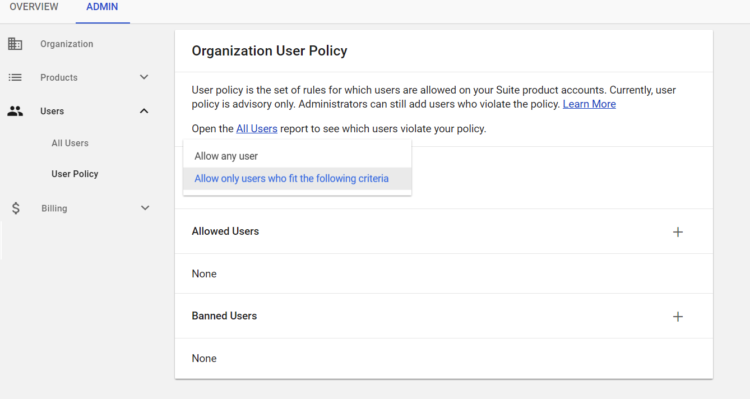 ADMIN user policy options