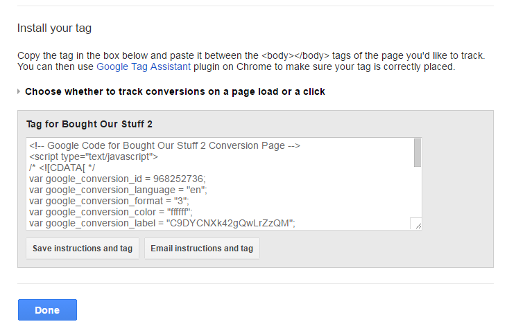 AdWords Conversion Tag Implementation