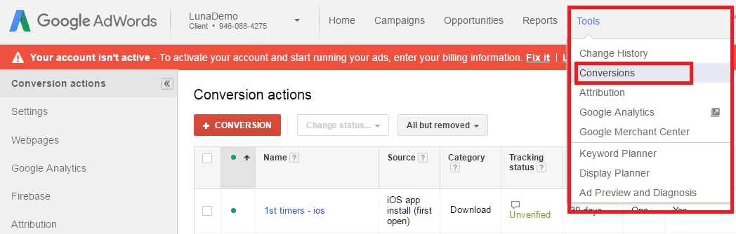 AdWords Conversion Tag Setup