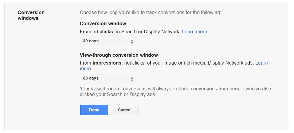 AdWords Conversion Window