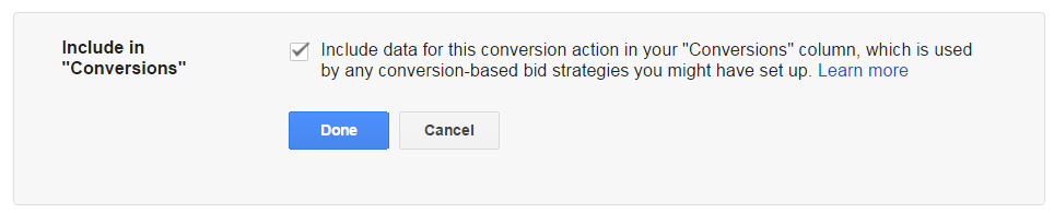 AdWords Include in Conversions