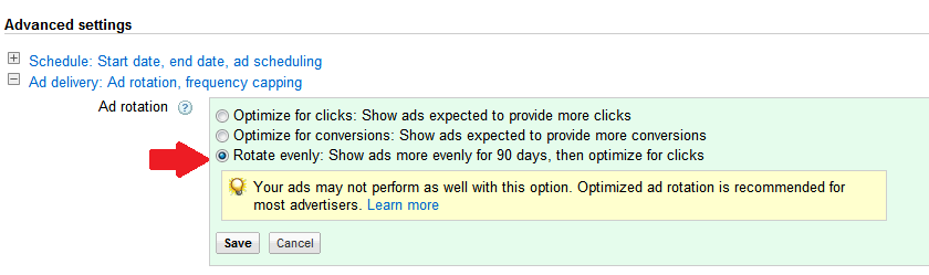 Adwords-rotate-evenly
