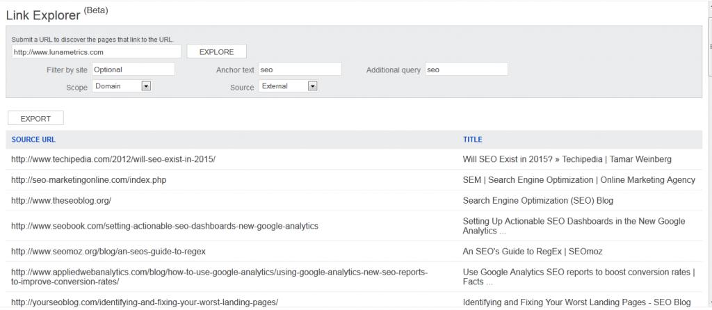 BWT Link Explorer has useful filters