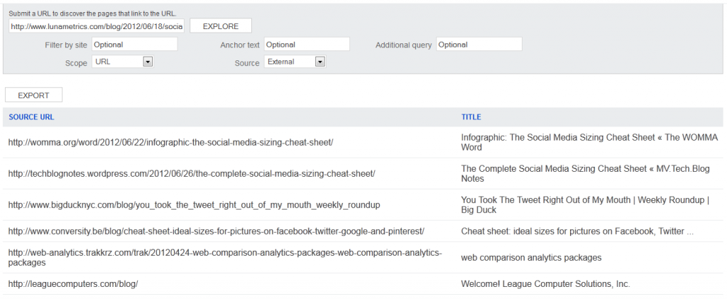 Bing Webmaster Tool's Link Explorer is fast