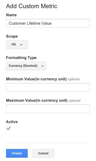 CLV custom metric