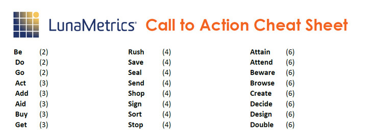 Call To Action Cheat Sheet