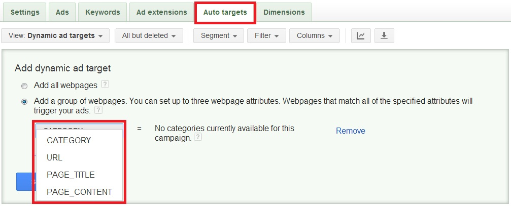 Select your webpage criteria to create an dynamic search auto-target