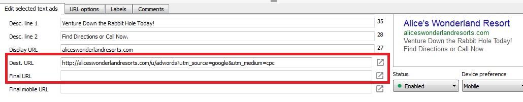 Display and Final URL