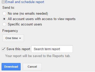 Emailing and Scheduling Search Term Report