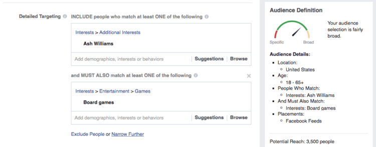 Using detailed targeting to narrow down Facebook users