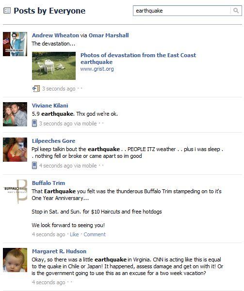 Facebook Earthquake