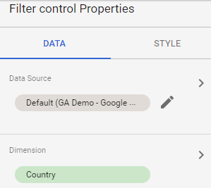 Filter control properties in Data Studio