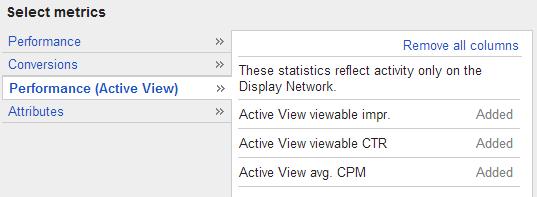 Google AdWords Active View CPM Columns