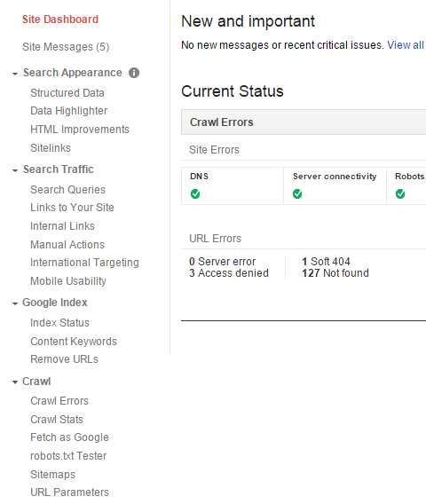 Google Webmaster Tools home screen menu screenshot