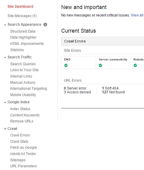 Google Webmaster Tools home screen menu screenshot