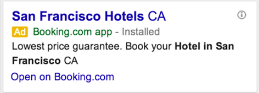 New app promotion ad features from Google AdWords