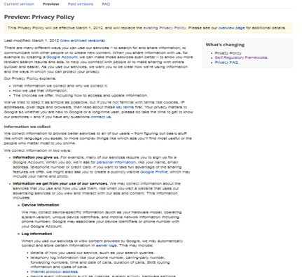New Privacy Policy Screenshot
