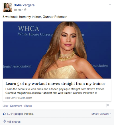 Sofia Vergara's Facebook Post