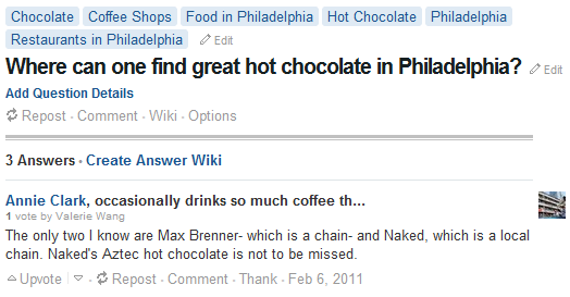 Quora Coffee Shops