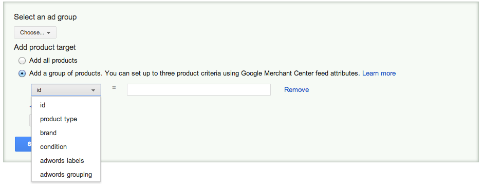 AdWords Product Listing Ads targeting