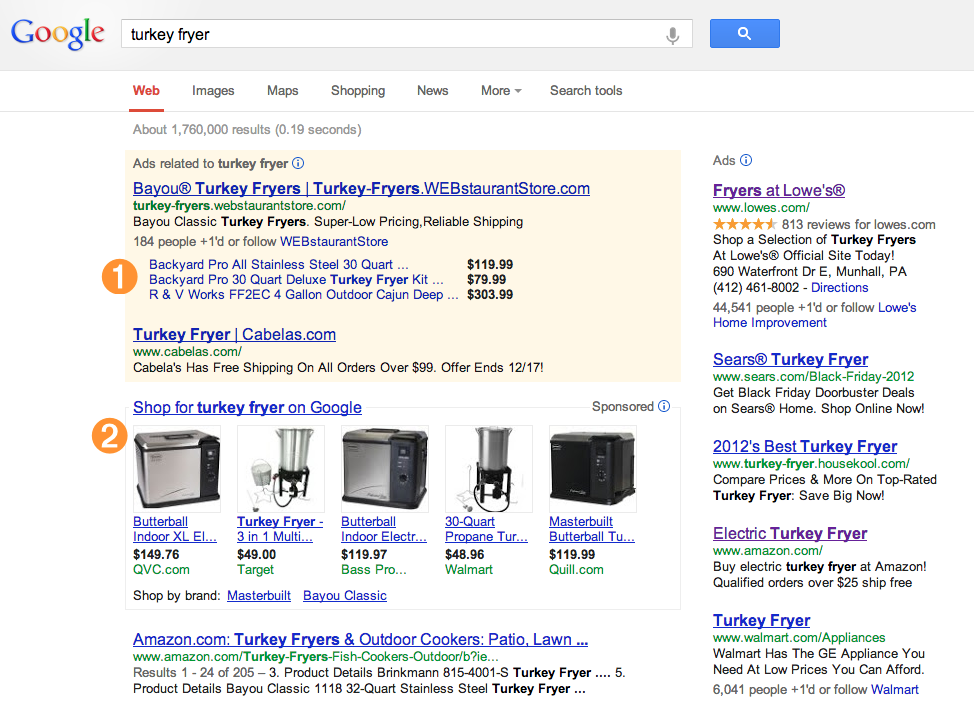 Search for 'turkey fryer' on Google showing product listing ads