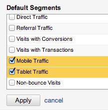 Google Analytics mobile-related Advanced Segments