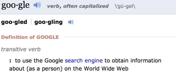 Definition: to google