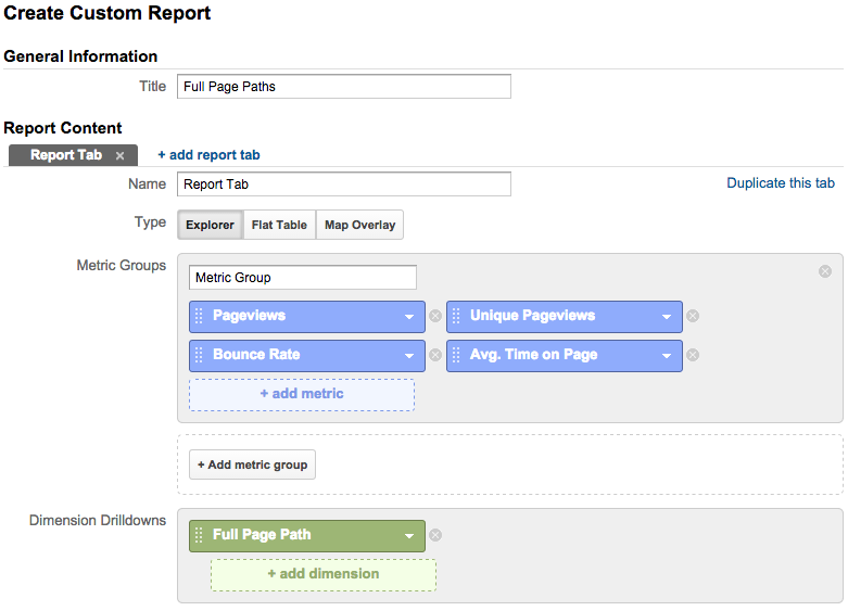 custom report full page path