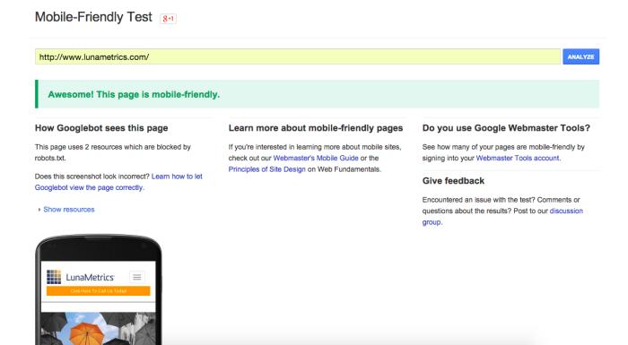 Mobile website testing tool