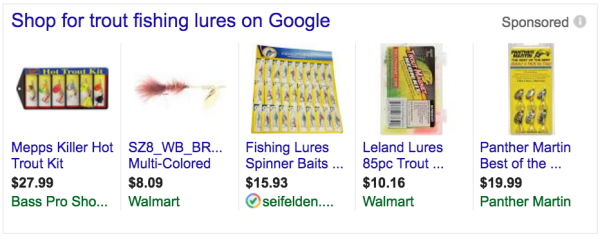 google shopping ads - fishing lures