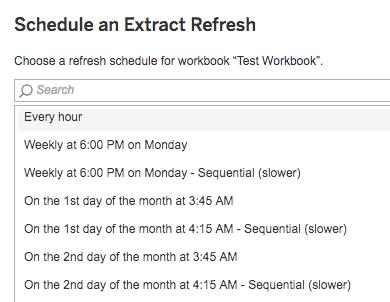 Schedule refresh details