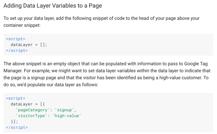Adding Data Layer Variables to a Page