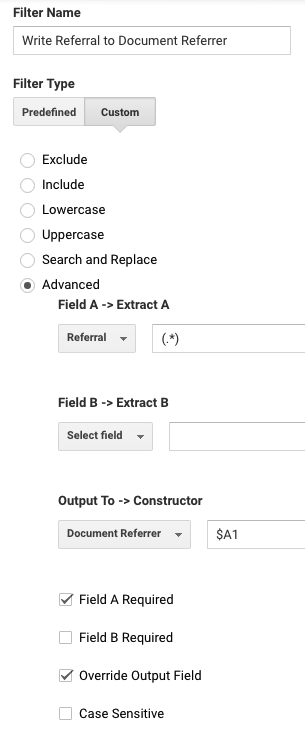 Use an advanced filter to write the Referral field value into your custom dimension