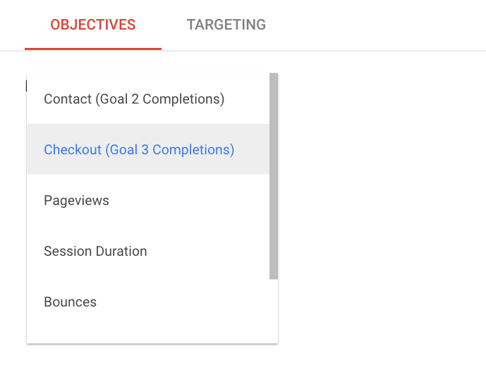 Experiment objectives in Google Optimize