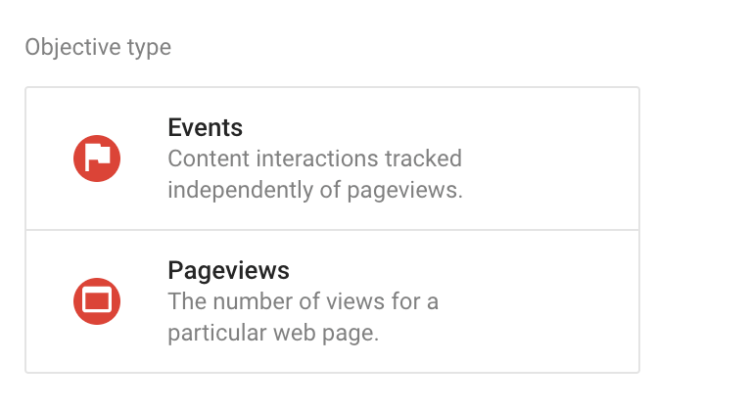 Overview of Custom Objectives in Google Optimize - events and pageviews