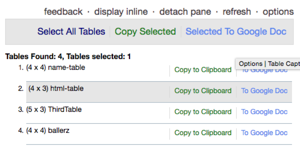 TableCapture chrome extension