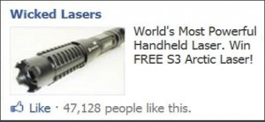 Wicked Lasers Facebook Ad
