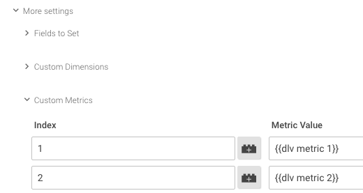 Add custom metrics to GTM event tag