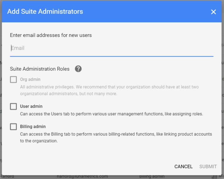 Add suite administrators