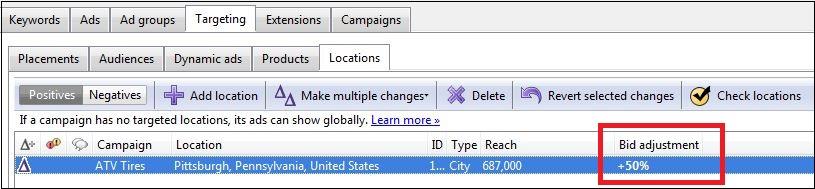 adwords editor 10.0 location adjustment