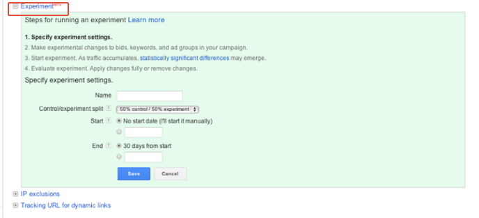 adwords experiments