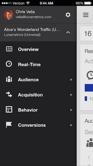 Google Analytics App Navigation