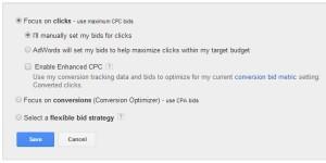 conversion bid metric setting
