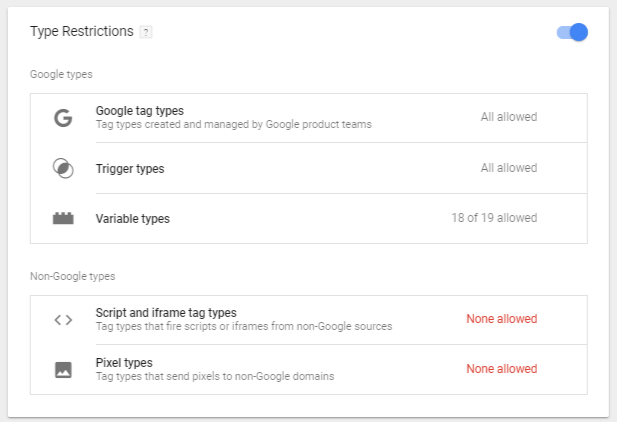 Google Tag Manager Container Zone Type Restrictions
